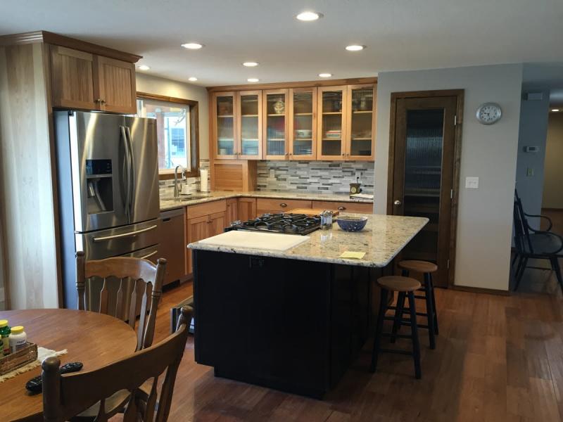Kitchen remodel w/ reeded glass pantry door in Boise, Idaho